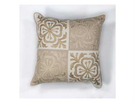 KAS Rugs Beige Damask Square Pillow