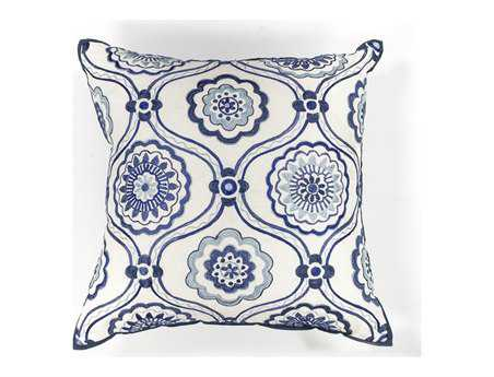 KAS Rugs Ivory & Blue Mosaic Square Pillow
