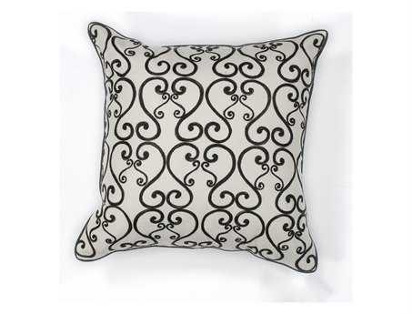 KAS Rugs White & Black Luminous Square Pillow