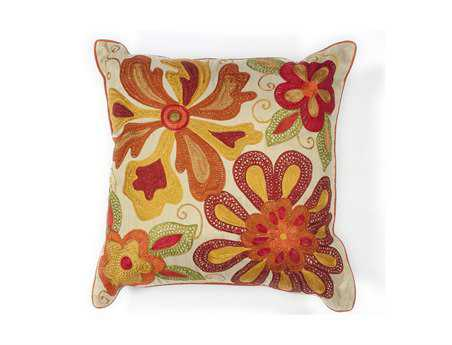 KAS Rugs Ivory & Red Sea Flora Square Pillow KGL123