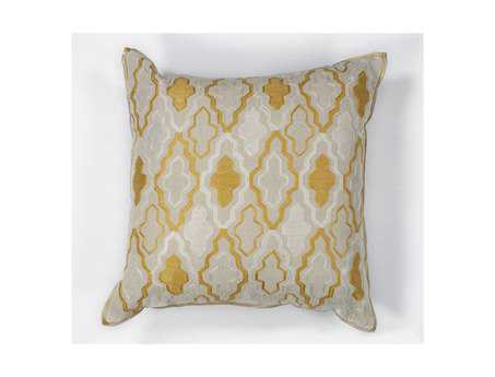 KAS Rugs Ivory & Yellow Groove Square Pillow
