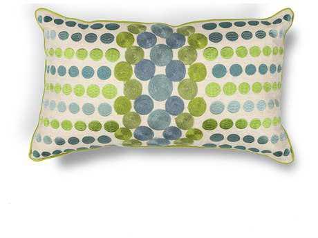KAS Rugs Blue-Green Circles Rectangular Pillow KGL220