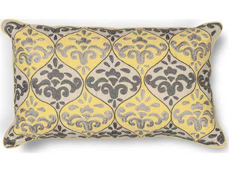 KAS Rugs Yellow-Grey Damask Rectangular Pillow KGL221