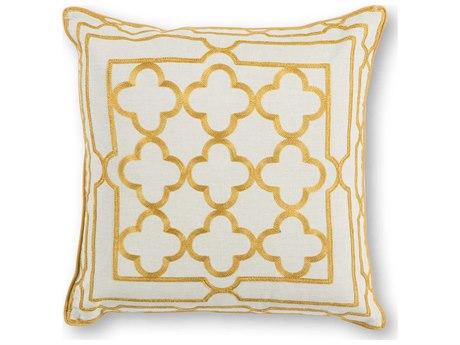 Kas Rugs Gold Trefoil Frame 18'' Square Pillow KGL308