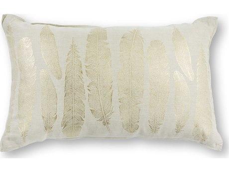 Kas Rugs Gold Feathers 12'' x 20'' Rectangular Pillow KGL315