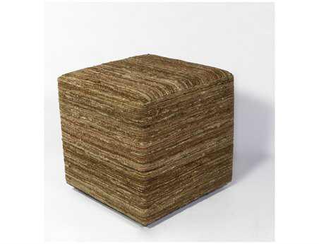 KAS Rugs Beige Viscose Cube Pouf KGF804