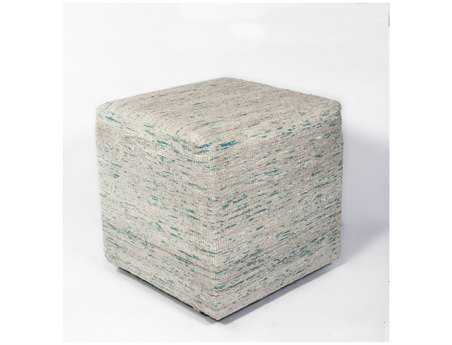 KAS Rugs Ice Blue Viscose Cube Pouf KGF801