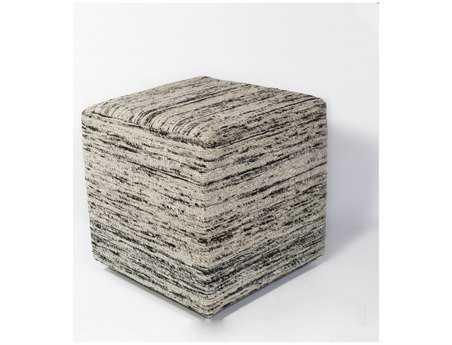KAS Rugs Black & White Viscose Cube Pouf KGF803