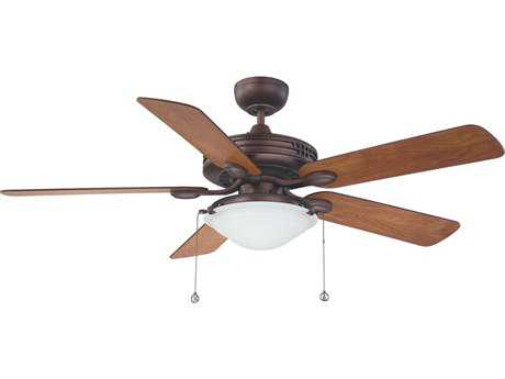 Kendal Lighting Builder Choice Oil Brushed Bronze with Elmwood & Oil Brushed Bronze Switch Blades 52'' Wide Ceiling Fan with Light