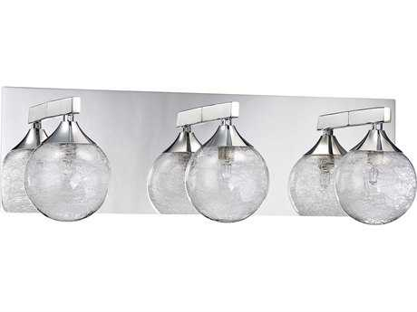 Kendal Lighting Fybra Chrome with Clear Glass Globe with Stretched Glass Fibers Encased Three-Light Vanity Light