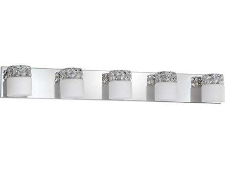 Kendal Lighting Vellase Chrome with Opal White Glass with Optic Crystal Trim Five-Light Vanity Light KENVF64005LCH
