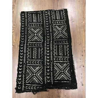 Legend of Asia Black African Mudcloth Geometric Throw LOA25088