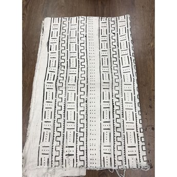 Legend of Asia White & Black Dot Line & Wall African Mudcloth Throw LOA25086