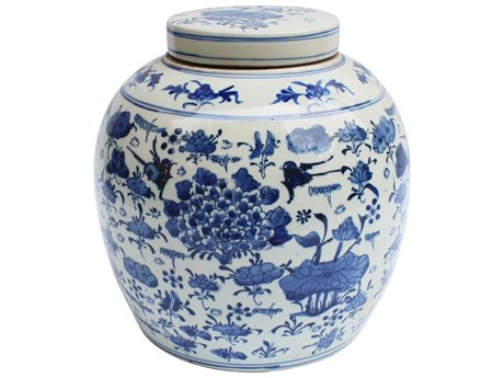 Legend of Asia Blue & White Large Swallows & Flowers Ancestor Jar LOA1195L