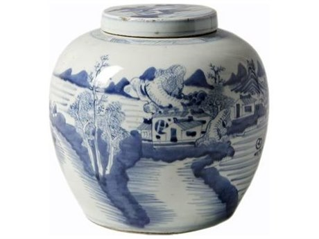 Legend of Asia Blue & White Small Ancestor Jar With Landscape Design LOA1607
