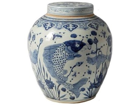Legend of Asia Blue & White Large Ancestor Lidded Jar with Fish Motif LOA1316