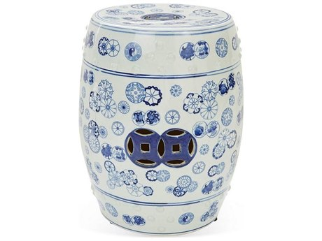 Legend of Asia Blue & White Ball Flower Porcelain Garden Stool LOA1864