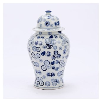Legend of Asia Blue & White Small Ball Flower Temple Jar LOA1608