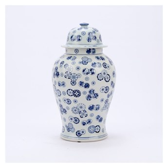 Legend of Asia Blue & White Large Ball Flower Temple Jar LOA1608L