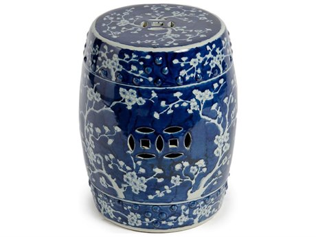 Legend of Asia Blue & White Garden Stool with Plum Blossom Motif