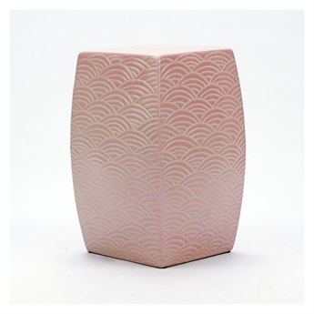 Legend of Asia Blush Pink Seawave Square Porcelain Garden Stool