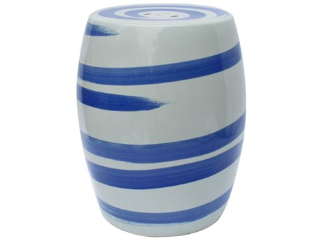 Legend of Asia Blue & White Spin Brushstroke Porcelain Garden Stool LOA1401