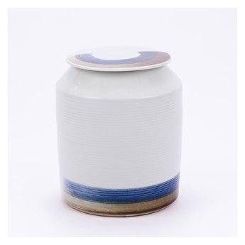 Legend of Asia Blue & White Tall Brushstroke Surrounding Cylinder Tea Jar