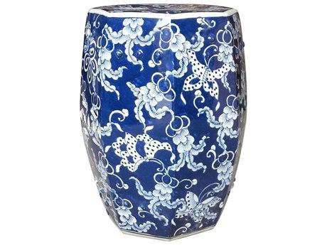 Legend of Asia Blue & White Hexagonal Butterfly Porcelain Garden Stool