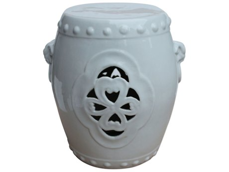 Legend of Asia White Carved Floral Porcelain Garden Stool With Handles