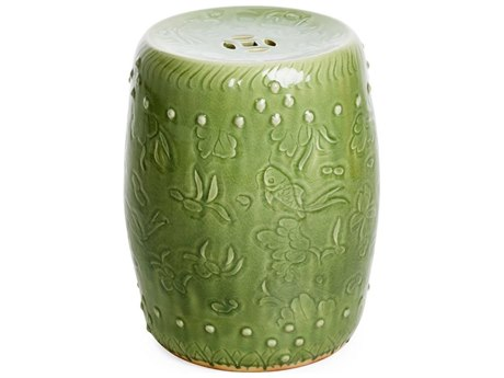 Legend of Asia Green Long Quan Carved Fish Medallion Porcelain Garden Stool LOA1783