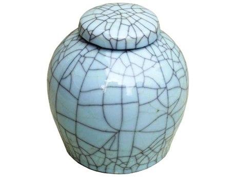 Legend of Asia Celadon Crackle Lidded Porcelain Ming Jar