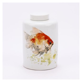 Legend of Asia White Large Colored Fish Round Tea Jar