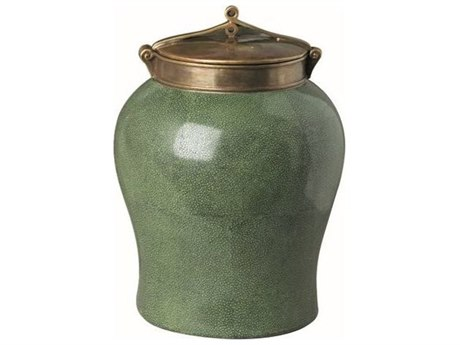 Legend of Asia Green Crackle Small Jar With Bronze Glaze Lid LOA1820GS