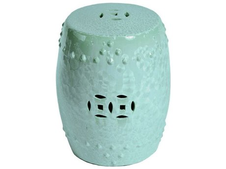 Legend of Asia Green Crystal Shell Porcelain Garden Stool