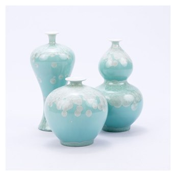 Legend of Asia Green Chinoiserie Crystal Shell Vases (Set of 3)