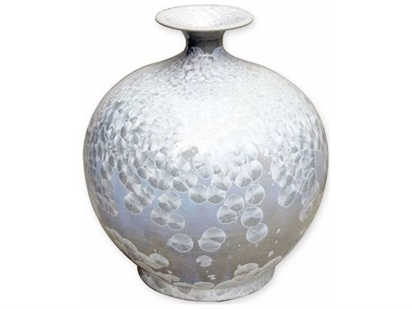 Legend of Asia Silver Large Crystal Shell Pomegranate Vase