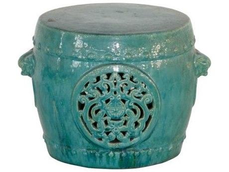 Legend of Asia Turquoise Vintage Dragon Medallion Ceramic Garden Stool