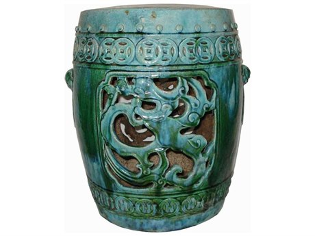 Legend of Asia Turquoise Dragon Coil Garden Stool LOA1076TQ