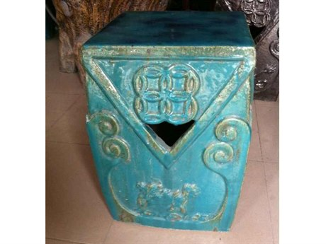 Legend of Asia Turquoise Double Dragon Porcelain Garden Stool