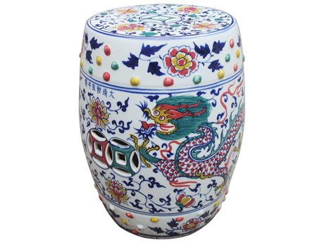 Legend of Asia White Doucai Garden Stool with Dragon Phoenix Motif LOA1185