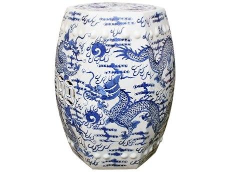 Legend of Asia Blue & White Hexagonal Fire Ball Dragon Garden Stool