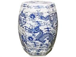 Blue & White Hexagonal Fire Ball Dragon Garden Stool
