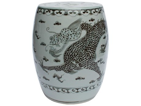 Legend of Asia Black & White Hong Wu Dragon Porcelain Garden Stool