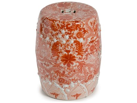 Legend of Asia Orange Porcelain Garden Stool With Dragon Motif LOA1651