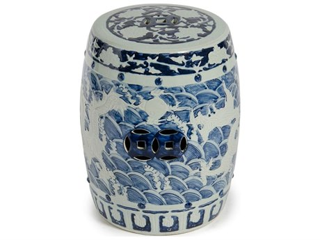 Legend of Asia Blue & White Carved Dragon Garden Stool