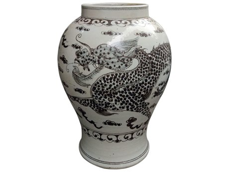 Legend of Asia Blue & White Hong Wu Flaring Rim Jar with Dragon Motif