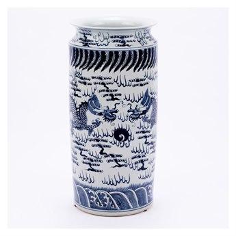 Legend of Asia Blue & White Dragon Umbrella Stand LOA1168