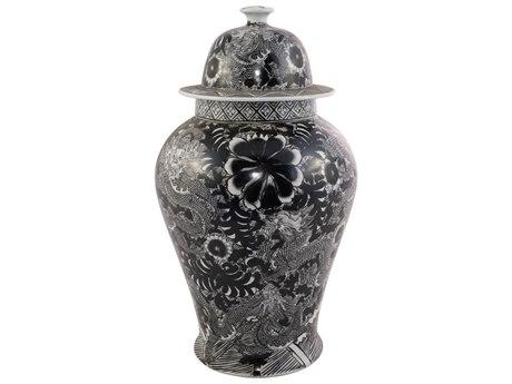Legend of Asia Black Temple Jar With Dragon & Floral Motif LOA1519B