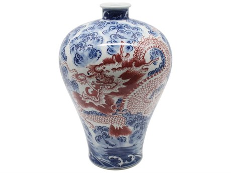 Legend of Asia Blue & White Plum Vase With Cooper Red Dragon