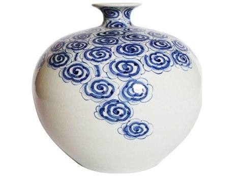 Legend of Asia Blue & White Driftting Cloud Pomeranate Porcelain Vase